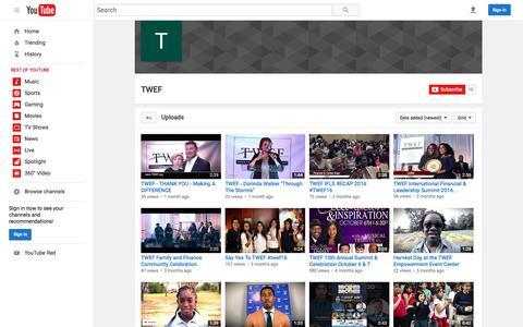 Screenshot of Press Page youtube.com - TWEF  - YouTube - captured Feb. 1, 2017