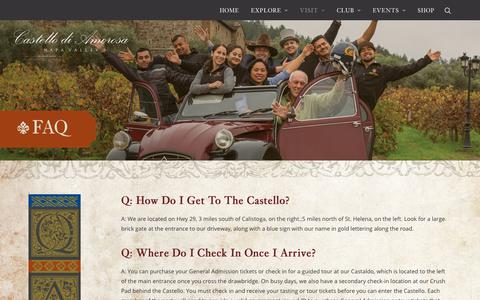 Screenshot of FAQ Page castellodiamorosa.com - Frequently Asked Questions About Castello di Amorosa In Napa Valley - captured Sept. 19, 2018