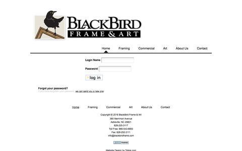 Screenshot of Login Page blackbirdframe.com - Blackbird Frame - captured Feb. 7, 2016