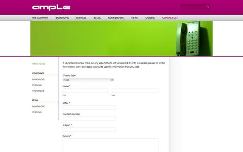 Screenshot of Contact Page ample.co.in - Contact Us - Ample Technologies - captured Oct. 4, 2014
