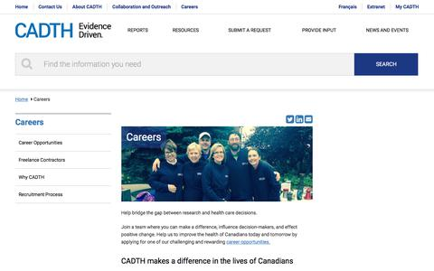 Screenshot of Jobs Page cadth.ca - Careers | CADTH.ca - captured July 12, 2017