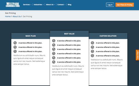 Screenshot of Pricing Page westparkcom.net - Get Pricing - captured July 20, 2018