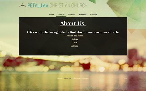 Screenshot of About Page petalumachristian.org - About Us «  Petaluma Christian Church - captured Nov. 5, 2016