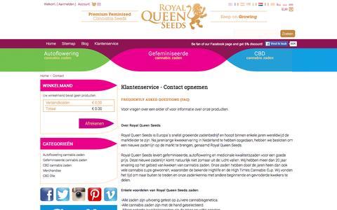 Screenshot of Contact Page royalqueenseeds.nl - Neem contact op - captured June 3, 2016