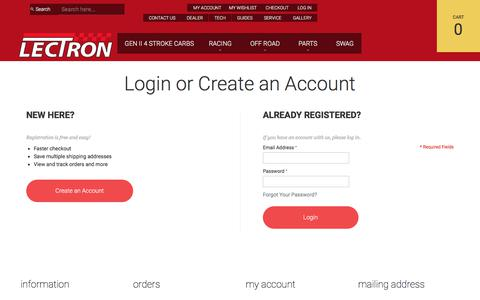 Screenshot of Login Page lectronfuelsystems.com - Customer Login - captured July 29, 2017