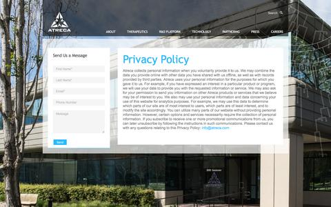 Screenshot of Privacy Page atreca.com - Atreca |   Privacy Policy - captured Feb. 21, 2016