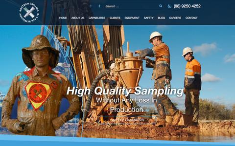 Screenshot of Home Page bostech.com.au - Drilling Company Perth Western Australia - Air Core Drilling - captured Sept. 13, 2015