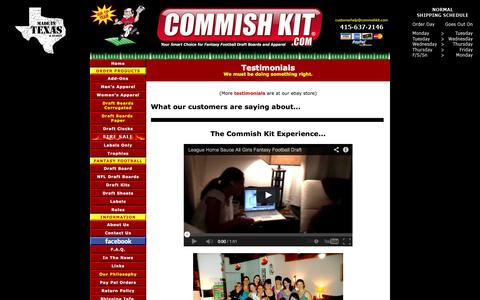 Screenshot of Testimonials Page commishkit.com - Testimonials | Commish Kit - captured Sept. 30, 2014