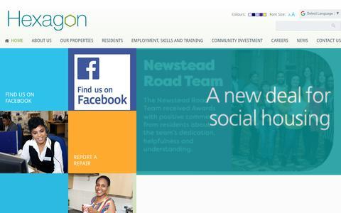 Screenshot of Home Page hexagon.org.uk - Hexagon Housing Association - captured Oct. 24, 2018