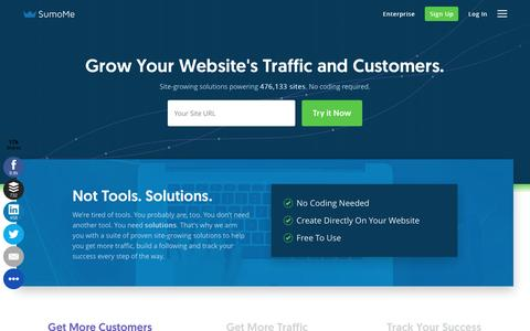 Screenshot of Home Page sumome.com - SumoMe - The Best Website Traffic Tools - captured Dec. 5, 2016