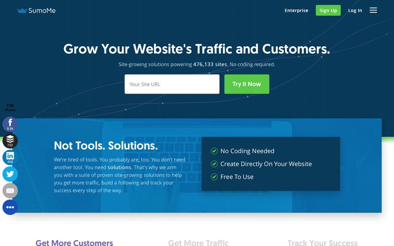 Screenshot SumoMe - The Best Website Traffic Tools