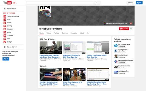 Screenshot of YouTube Page youtube.com - Direct Color Systems  - YouTube - captured Oct. 23, 2014