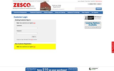 Screenshot of Login Page zesco.com - Customer Login - captured Oct. 1, 2014