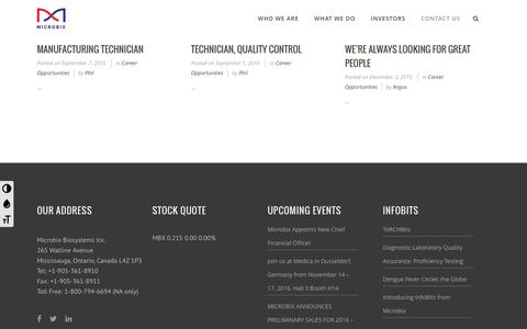 Screenshot of Jobs Page microbix.com - Career Opportunities Archives | Microbix Biosystems Inc. - captured Nov. 28, 2016