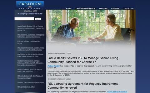 Screenshot of Press Page psliving.com - Paradigm Senior Living | News - captured Oct. 1, 2014