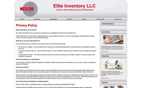 Screenshot of Privacy Page eliteinventoryllc.com - Elite Inventory Privacy Policy | Elite Inventory LLC - captured Sept. 29, 2014