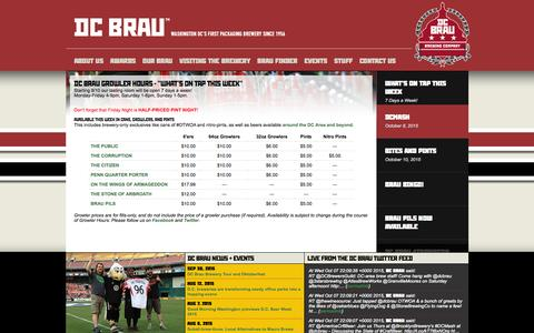 Screenshot of Home Page dcbrau.com - ::: DC Brau Brewing Company ::: - captured Oct. 8, 2015