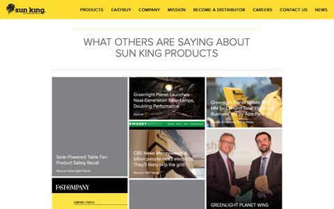 Screenshot of Press Page greenlightplanet.com - News    Sun King - captured Sept. 30, 2018