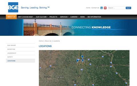 Screenshot of Contact Page Locations Page bgeinc.com - BGE - Locations - captured Nov. 23, 2016
