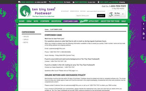 Screenshot of Privacy Page Contact Page Terms Page 10tiny.com - Customer Care | Baby, Infant and Toddler Shoes | Play and Dress Shoes | Ten Tiny Toes Footwear - captured Oct. 22, 2014