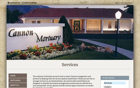 Screenshot of Services Page cannonmortuary.com - Cannon Mortuary | Salt Lake City UT funeral home and cremation - captured July 15, 2018
