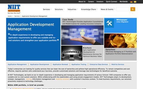Screenshot of Services Page niit-tech.com - Application Development Management | NIIT Technologies - captured Oct. 26, 2014