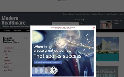 Screenshot of Press Page modernhealthcare.com - Breaking healthcare business news and information from Modern Healthcare magazine - captured Oct. 22, 2015
