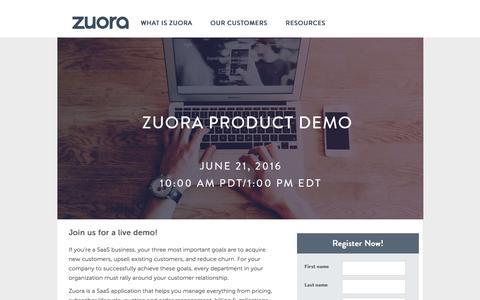 Screenshot of Landing Page zuora.com - SaaS Product Demo Webinar   Zuora - captured June 21, 2016