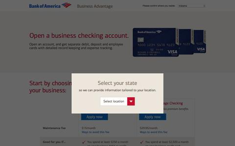 Screenshot of bankofamerica.com - Bank of America - Business Checking - captured Dec. 6, 2017