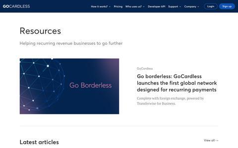 Screenshot of Blog gocardless.com - Resources | GoCardless - captured Nov. 8, 2019