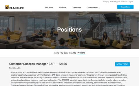 Screenshot of Jobs Page blackline.com - Customer Success Manager-SAP| Remote, United States, United States - captured Nov. 29, 2019