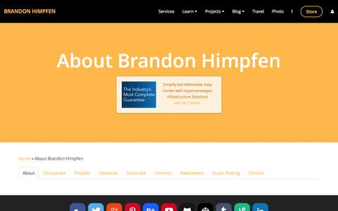 Screenshot of About Page himpfen.com - About Brandon Himpfen - Brandon Himpfen - captured Jan. 18, 2016