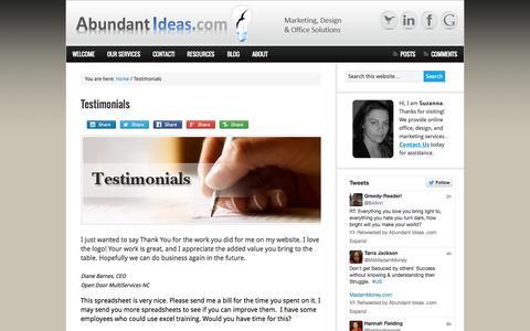 Screenshot of Testimonials Page abundantideas.com - Testimonials - captured Sept. 30, 2014