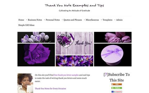 Screenshot of Home Page thank-you-note-examples-and-tips.com - Thank You Note Examples and Tips - captured Oct. 14, 2018