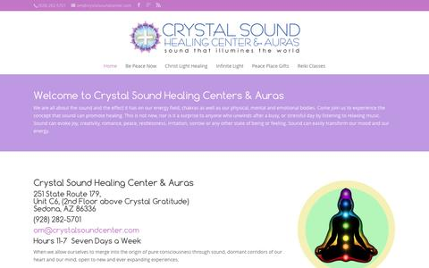 Screenshot of Home Page crystalsoundcenter.com - The Crystal and Sound Healing Center | Infinite Light Healing Studies Center - captured June 13, 2016
