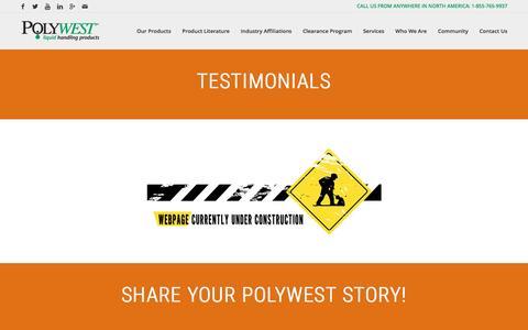 Screenshot of Testimonials Page polywest.ca - Testimonials – Polywest Ltd. - captured Nov. 8, 2016