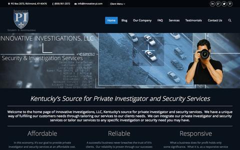 Screenshot of Home Page innovative-pi.com - Innovative Investigations, LLC | The Innovative PI's - captured Oct. 6, 2014