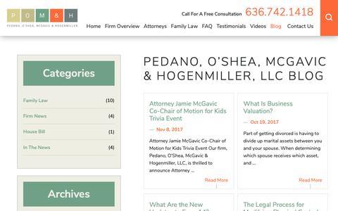 Screenshot of Blog pomhfamilylaw.com - St. Louis Family Law Blog | Family Attorney in St. Charles County | Pedano, O'Shea, McGavic & Hogenmiller, LLC - captured Sept. 27, 2018