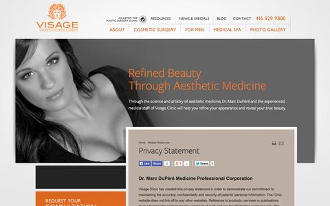 Screenshot of Privacy Page visageclinic.com - Privacy Policy from VISAGE Clinic - captured Oct. 7, 2014