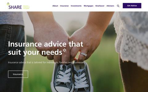 Screenshot of Home Page sharenz.com - Financial Advisor | Insurance Broker | Mortgage Brokers - SHARE - captured Sept. 27, 2018