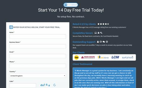 Screenshot of Trial Page eworksmanager.co.uk - E Works Manager - Job Management Software Contact - captured Sept. 9, 2016