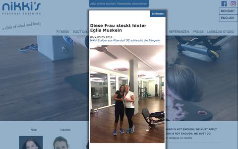Screenshot of Home Page Team Page nikkistalder.ch - Nikki Stalder Personal Fitness Trainer Ihr Personal Trainer und Fitness Coach für die Regionen Altendorf, Zurich, Rapperswil,Wollerau,Feusisberg - captured June 19, 2018