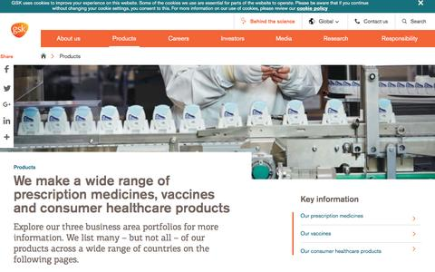 Screenshot of Products Page gsk.com - Products | GSK - captured March 19, 2017
