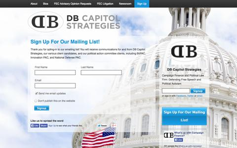 Screenshot of Signup Page dbcapitalstrategies.com - Sign Up - DB Capitol Strategies - captured Nov. 3, 2014