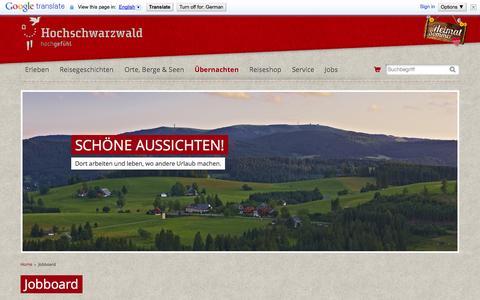 Screenshot of Jobs Page hochschwarzwald.de - Jobboard | Hochschwarzwald Tourismus GmbH - captured Sept. 22, 2014