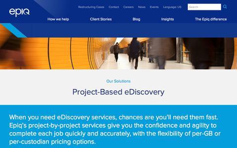 Screenshot of epiqsystems.com - Project Based eDiscovery Solutions | Epiq - captured Nov. 4, 2017