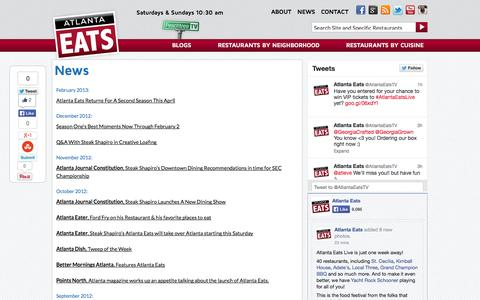 Screenshot of Press Page atlantaeats.com - News | Atlanta Eats - captured Sept. 30, 2014