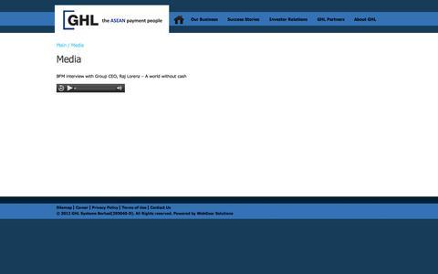 Screenshot of Press Page ghl.com - Media | GHL - captured Oct. 1, 2014