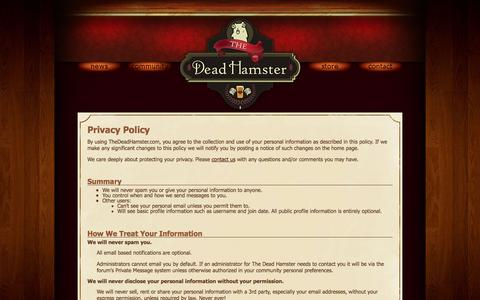 Screenshot of Privacy Page thedeadhamster.com - Privacy Policy for The Dead Hamster - captured Sept. 30, 2014