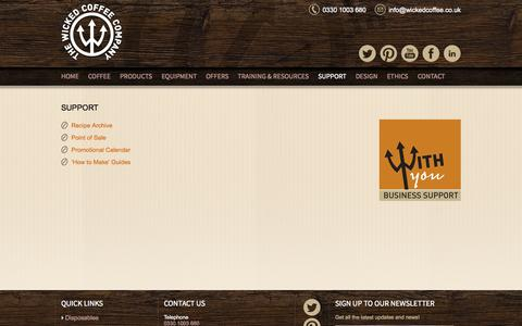 Screenshot of Support Page wickedcoffee.co.uk - Support » The Wicked Coffee Company - captured Oct. 7, 2014